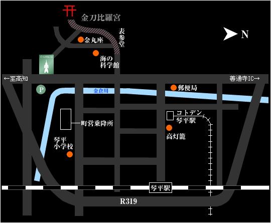 琴平花壇店地図